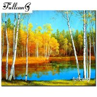 Wholesale FULLCANG mosaic needlework diy d diamond embroidery forest landscape diamond painting cross stitch full square drill G053