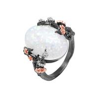 schöner goldfinger ring großhandel-Schöner Baum-Blumen-Ring-Schmuck-Schwarz-Gold füllte romantischen CZ-großen weißen Feuer-Opal-Ring-Frauen Dropshipping Band-Finger-Ring