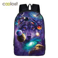 mochilas de galaxias de mujer al por mayor-Galaxy Mochila para Teenage Girls Boys Universe Space Niños Bolsas de escuela feminina Wolf Book Bag Mujeres Hombres Bolsa de ocio