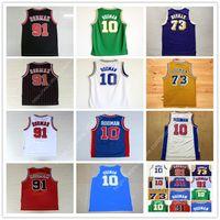 Wholesale vintage school - Men's 91 Dennis Rodman Jersey Oklahoma Savages High School 10 Rodman Basketball Jerseys 73 Blue White Yellow Purple Red Black vintage jersey