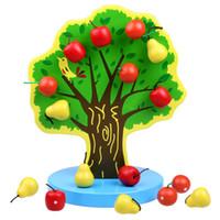 ingrosso giocattolo mela bambino-Nuovo giocattolo per bambini in legno Simulazione magnetica Albero da frutto Apple e Pera Baby Toy