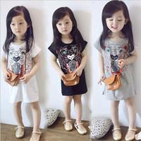 Wholesale korean long sleeves for girls - 2018 Summer New Korean Girl Dress Long T-shirt Skirt Cartoon Print Short Sleeves Cotton Suitable for Age Group Children 3~8 100~140cm