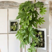 ingrosso lascia le piante-Appeso stella anice foglia pianta pianta verde artificiale foglie decorazione della parete casa cesto balcone grande fiore accessori disposizione