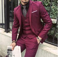 Wholesale marriage suits - Tailor Made Burgundy Wine Red Slim Fit Groom Prom Blazer Formal Costume Marriage Homme 3 Piece Tuxedo Jacket+Pants+Vest Terno
