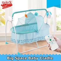 cunas de metal para bebés al por mayor-Cuna eléctrica / cuna para bebé, mecedora eléctrica para bebés, mecedora, columpio para bebés, espacio grande 100 * 55cm