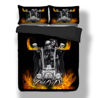 Wholesale Wongsbedline New Design By Motorcycle Skull Duvet Cover Pillow Case Twin Full Queen King Size Bedclothes