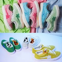 Wholesale le run - New TTC The Creator x One Star Golf Ox Le Fleur Wang Suede Green Yellow Beige Sunflower Casual Running Skate Shoes Sneakers 6 Colors Bag box