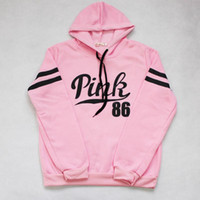 Wholesale Hooded Sweater Shirt - Women Letter Hoodie Pullover Tops Brand Shirt Coat Sweatshirt Long Sleeve Hoodies Casual Sweater Fashion Hooded Pink White 2pcs lot