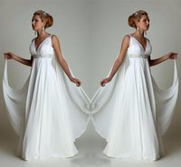 Wholesale simple empire waist wedding dress resale online - Simple Chiffon Empire Waist Beach Wedding Dresses Greek Modern V Neck Plus Size Bridal Gown Cheap Vestido Wedding Gowns