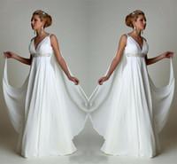 mais tamanho simples vestidos de casamento de praia venda por atacado-Simples Chiffon Império Cintura Praia Vestidos De Noiva Grego Moderno V Plus Size Vestido De Noiva Vestido De Casamento Baratos Vestidos