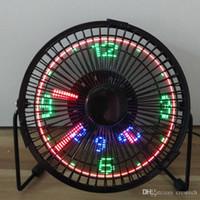 Wholesale bulb clock resale online - New arrival fan parasol V ventilator fan with LED clock temperature xmas birthday gift fret fan