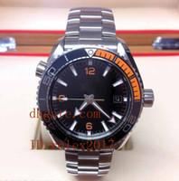 ingrosso orologi di qualità arancione-Mens Luxury Top Quality Stainless Solace Edizione limitata Oceano automatico meccanico nero e arancio da uomo Sport orologi da polso