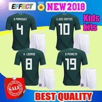 Wholesale thai quality mexico jerseys - Mexico kids jersey 2017 2018 CHICHARITO home children G.DOS SANTOS R.MARQUEZ C VELA thai quality Mexico soccer Jersey 17 18 football shirt