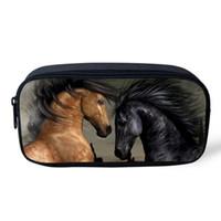 bolsas de cosméticos para caballos al por mayor-2017 Bolsa de almacenamiento Bolsa de cosméticos Mujeres Bolsas de maquillaje Escolar Crazy Horse Imprimir Estuche de lápices Bolsa Animal Útiles escolares Lápiz-caso