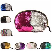 Wholesale evening clutch bags wholesale online - 8 Styles Purse Mermaid Sequin Bags Reversible Glitter Hard Shell Bags For Women Evening Bag Mermaid Makeup Evening Bag GGA392
