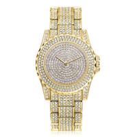 Wholesale women s watches for sale - Women s Luxury Diamond Watch Women Fashion Table Fountain Decorative Classic noble Luxury classic romantic diamond quartz gold strap watch