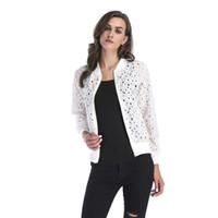 chaqueta de encaje de manga larga al por mayor-Venlarain Zipper Long Sleeved Jacket Women 2018 Señoras de primavera New Lace Calado ciegas Sun Shirt Cardigan Jacket 2018