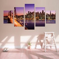 Wholesale artist picture - Top Fashion Frameless Home Wall Decorations 5 Panels Modern Mural New York Bridge Canvas Print Artist Canvas Poster