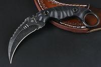 cuchillos strider d2 al por mayor-Cuchillo Karambit Strider D2 Hoja de Lavado de Piedra Negra / Negra Mango Completa de Mano Negra G10 con Funda de piel