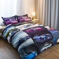 estoque de conjuntos de cama venda por atacado-Carros de corrida 3 Peças Conjuntos de Cama de Poliéster Conjuntos de Cama Capa de Edredão de Impressão de Cama Queen Size King Em Estoque