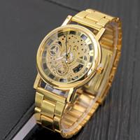 relógios ocos para mulheres venda por atacado-Nova Marca de Moda de Luxo Em Aço Inoxidável Mens Watch Esqueleto Oco Relógios Mulheres Vestido Relógios de Pulso Presentes Relógio Horas Relojes Mujer