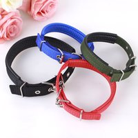 Wholesale nylon dog collar large online - 4 Colors Adjustable Dog Nylon Collar Leash Pure Color Puppy Collars Animal Pet Accessories For Dogs Size AAA910