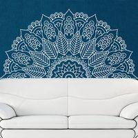 dreidimensionale wandabziehbilder großhandel-Neue Ankunft Namaste Mandala Yoga Lotus Meditation Indien Buddha Gott OM Symnol Kunst Wandaufkleber Vinyl Interio Bett Zimmer Wohnkultur