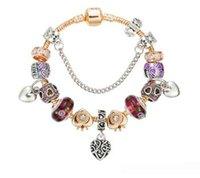 Wholesale green preserves - 18cm 19cm 20cm 21 cm Pandora's New Purple Glass Beads Bracelet Peach Heart Shaped Pendant Bracelet with Preserved Gold Plated Basic Bracelet