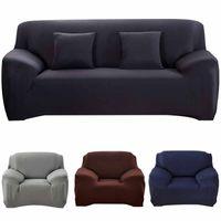 fundas de cojines de sofá de color al por mayor-Fundas de sofá de color sólido de 19 colores Fundas de cojín de sofá elástico Funda de sofá lavable para sala de estar 1/2/3/4 plazas