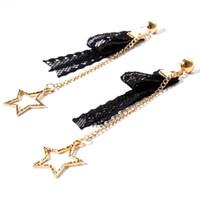 ingrosso orecchini di pizzo neri-Hollow pizzo nero con orecchini pendenti geometrici a forma di stella Orecchini a cerchio Pentagram Orecchini di fascino piercing allergia Gioielli di moda