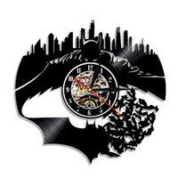 batman relógios de parede venda por atacado-BatmanGotham City Wall Vinil Relógio de parede LP gravado do vintage Relógio Handmade Relógio de parede Decor