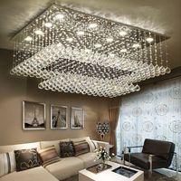 ingrosso luce soffitto a cristallo rettangolare-Lampadari di cristallo a LED moderni contemporanei a distanza con luci a LED per soggiorno Plafoniera a soffitto rettangolare
