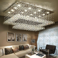 Wholesale Rectangular Chandelier Lighting - Modern Contemporary Remote LED Crystal Chandeliers with LED Lights for Living Room Rectangular Flush Mount Ceiling Lighting Fixture