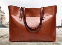 Wholesale dark brown hobo handbags - 2018 hot selling large Women's shoulder bags real leather smooth zipper handbag black brown Genuine Leather handbags hobos bag 2 size