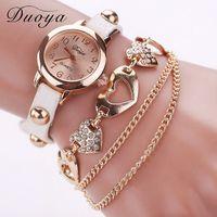 любовь часы наручные часы оптовых-Wholesale Duoya Women Watches Love Heart Metal Watch Bracelets Quartz Wristwatch for Woman Fashion