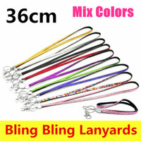 Wholesale Iphone Rhinestone Lanyards - Bling Bling Lanyard Crystal Rhinestone in Neck With Claw Clasp ID Badge Holder Phone camera ID card Rope lanyards For iPhone X Samsung