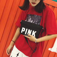 Wholesale red pink bags little online - 2018 Pink shoulder bag Pink Letter Little sling bag Women fashion Outdoor Cosmetic Bag