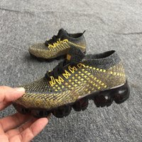 Wholesale children shoes black leather - New 2018 VaporMax Airs Vapor 2018 Betrue Strip Kids Running Shoes Rainbow Black Red Kids Sports Sneakers Children Shoes Size 28-35