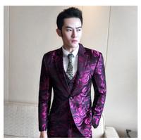 mens gemusterte anzüge großhandel-Floral Anzug Männer 2018 Lila Rose Blumenmuster Hochzeit Anzüge Für Männer 4XL 5XL Slim Fit Herren Party Prom Anzüge