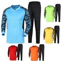 Wholesale Long Sponge - New Adult Soccer Goalkeeper Jersey Uniforms Long Sleeve Suits Sponge Protector Suit Camisetas De Futbol Jer top quality