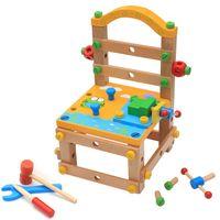 дети деревянные набор инструментов оптовых-Дети плотник построить свой собственный деревянный скамейке стул строительные блоки установить гайки и болты притвориться инструмент игрушки
