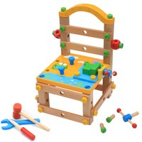 jeu d'outils en bois pour enfants achat en gros de-Menuisier enfants construire votre propre banc en bois chaise blocs de construction mis écrous et boulons pretend outil jouets
