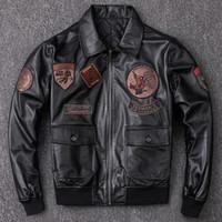erkekler uçuş deri ceket toptan satış-ABD hava kuvvetleri pilot deri ceket G1 koyun uçuş takım elbise erkekler için çok standart deri motosiklet suit