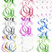 ingrosso appendente ornamenti soffitto-Moda soffitto appeso stagnola turbinii banner decorazioni di nozze colori 90 cm PVC ornamenti a spirale streamer scintillanti pratici 2 5bd B
