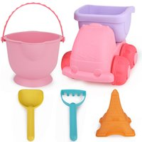 Wholesale fun stuff - 5 Pieces Kids Beach Tool Toy Set Soft Rubber Plastic Sand Digging Fun Playing Bucket Shovel Pretend Play Toys 12 32xs WW
