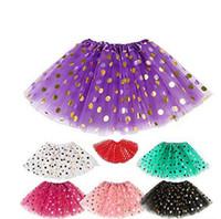 polka dot tutu robe jupe achat en gros de-11styles fille Paillettes Jupe Or Polka Dot Dancewear Jupes jupe de fête Girl Shine Noël Princesse Mini robe courte FFA859 20PCS