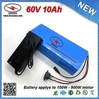 chargeurs classiques achat en gros de-Batterie de bicyclette électrique 900W 60V 10Ah avec 18650 batteries au lithium, classique, recouverte de PVC, chargeur 15A BMS + chargeur 67.2V 2A