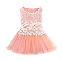 Wholesale Silk Flowers For Clothes - New 2017 Summer Style Girls Dresses Lace Flower Dress For Party Birthday Wear Princess Children Costume Kids Clothes For Girls