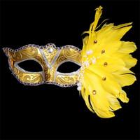 ingrosso maschere di mascheratura disegnate-Christmas Colored Drawing Masquerade Halloween con Feather Mask Festa di compleanno per le maschere di moda femminile Stage Performances Supplies 5hx jj