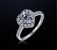 Fashion Jewelry Sexy lady's heart Gem 5A Zircon stone 925 Sterling silver Wedding Party Ring Sz 5-10 Free shipping Gift
